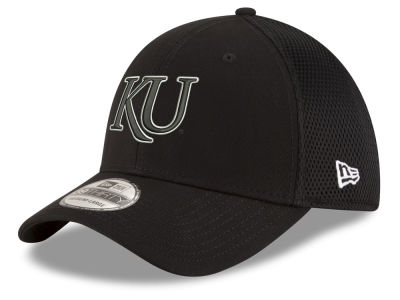 e1fdf1181c2 Kansas Jayhawks New Era NCAA Black White Neo 39THIRTY Cap