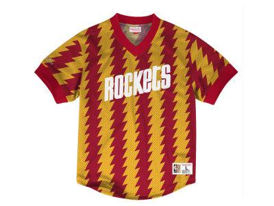 Houston Rockets Mitchell   Ness NBA Men s Kicking It Wordmark Mesh T-Shirt cac9061f6