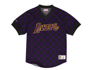 Los Angeles Lakers Mitchell & Ness NBA Men's Kicking It Wordmark Mesh T-Shirt