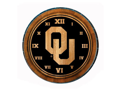 Oklahoma Sooners Timeless Etchings NCAA Wine Barrell Clock
