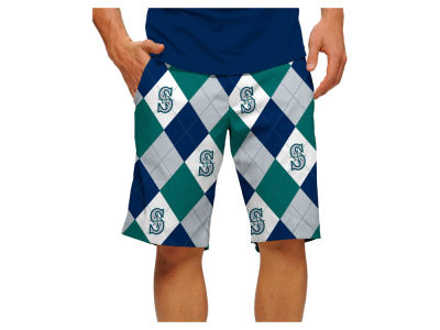 Seattle Mariners Loudmouth Golf MLB Men's Argyle Shorts