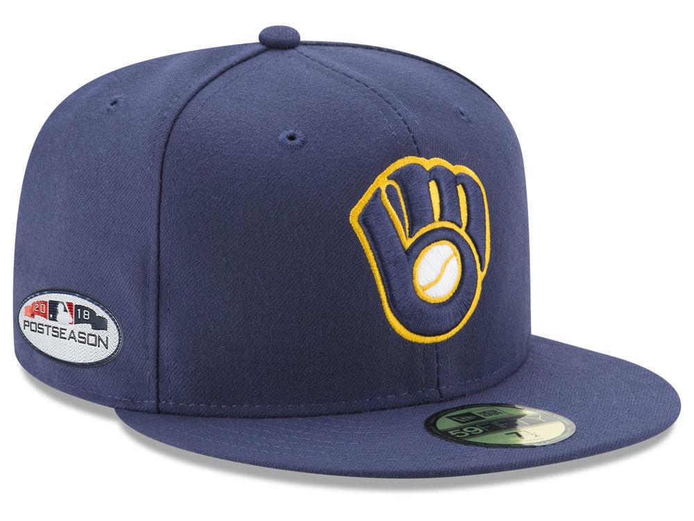 Milwaukee Brewers New Era 2018 MLB Postseason Patch 59FIFTY Cap ... 68a4cee473d
