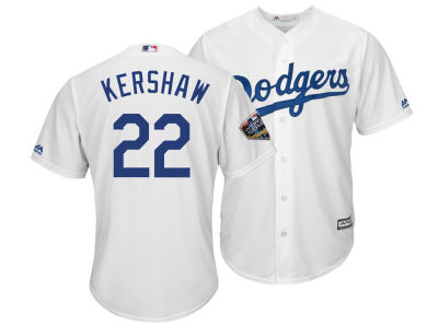 Los Angeles Dodgers Clayton Kershaw 2018 MLB Men's World Series Patch Player Cool Base Jersey