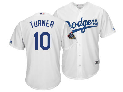 Los Angeles Dodgers Justin Turner 2018 MLB Men's World Series Patch Player Cool Base Jersey