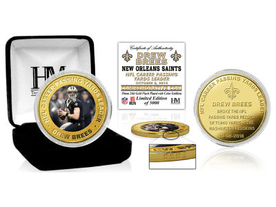 New Orleans Saints Drew Brees Highland Mint NFL Gold Coin