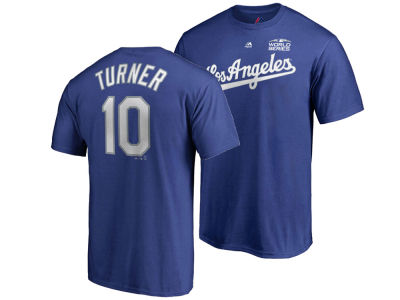 Los Angeles Dodgers Justin Turner Majestic 2018 MLB Men's World Series Patch Official Player T-Shirt