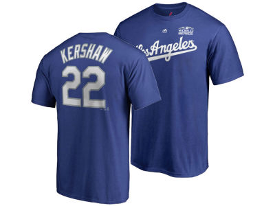 Los Angeles Dodgers Clayton Kershaw Majestic 2018 MLB Men's World Series Patch Official Player T-Shirt