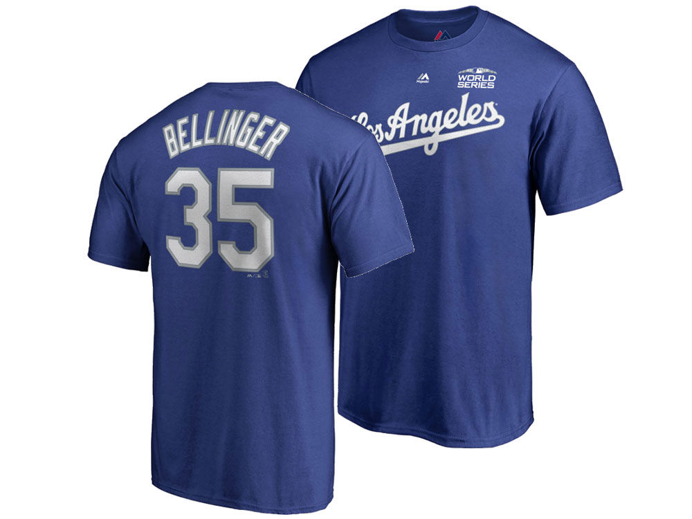 Los Angeles Dodgers Cody Bellinger Majestic 2018 MLB Men s World Series  Patch Official Player T-Shirt  3c33a5abdef