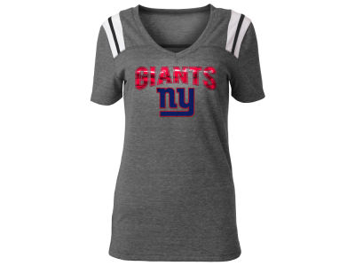 New York Giants 5th & Ocean NFL Women's Shoulder Stripe Foil T-Shirt