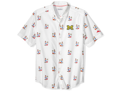 Michigan Wolverines Tommy Bahama NCAA Men's Hula Oasis Short Sleeve Button Up Shirt