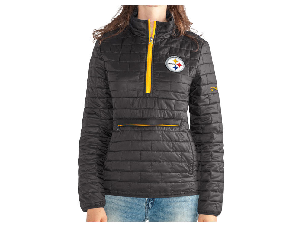 Pittsburgh Steelers G-III Sports NFL Women s Poly Quarter Zip Quilted Jacket   a7bbd6b5b