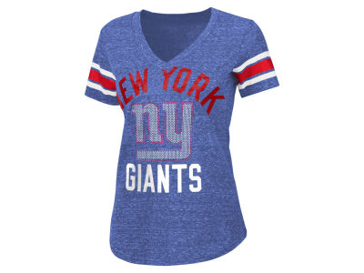 New York Giants G-III Sports NFL Women's Sleeve Stripe Bling T-Shirt