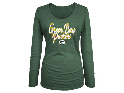 Green Bay Packers 5th & Ocean NFL Women's Long Sleeve Tri-blend Foil T-shirt
