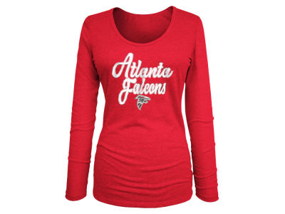 Atlanta Falcons 5th & Ocean NFL Women's Long Sleeve Tri-blend Foil T-shirt