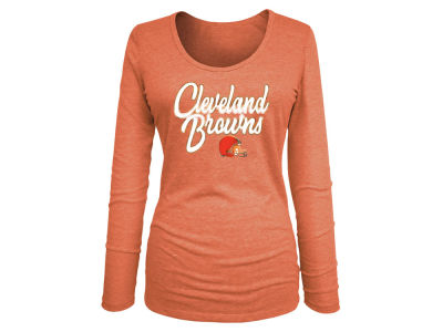 Cleveland Browns 5th & Ocean NFL Women's Long Sleeve Tri-blend Foil T-shirt