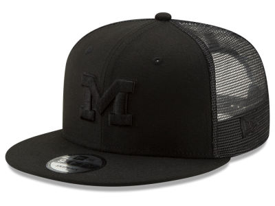 72620323382 Michigan Wolverines New Era NCAA Black Meshback 9FIFTY Snapback Cap