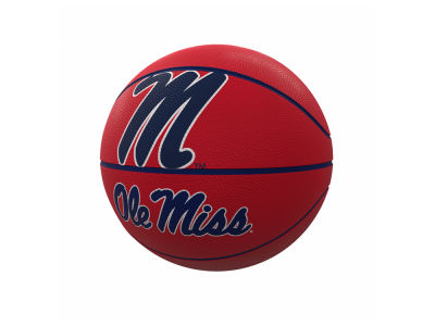 Ole Miss Rebels Logo Brands Official Size Rubber Basketball