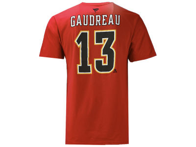 Calgary Flames Johnny Gaudreau Majestic NHL Men's Authentic Stack Name and Number T-shirt