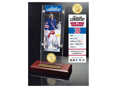 New York Rangers Henrik Lundqvist Highland Mint Ticket & Bronze Coin Acrylic Desk Top