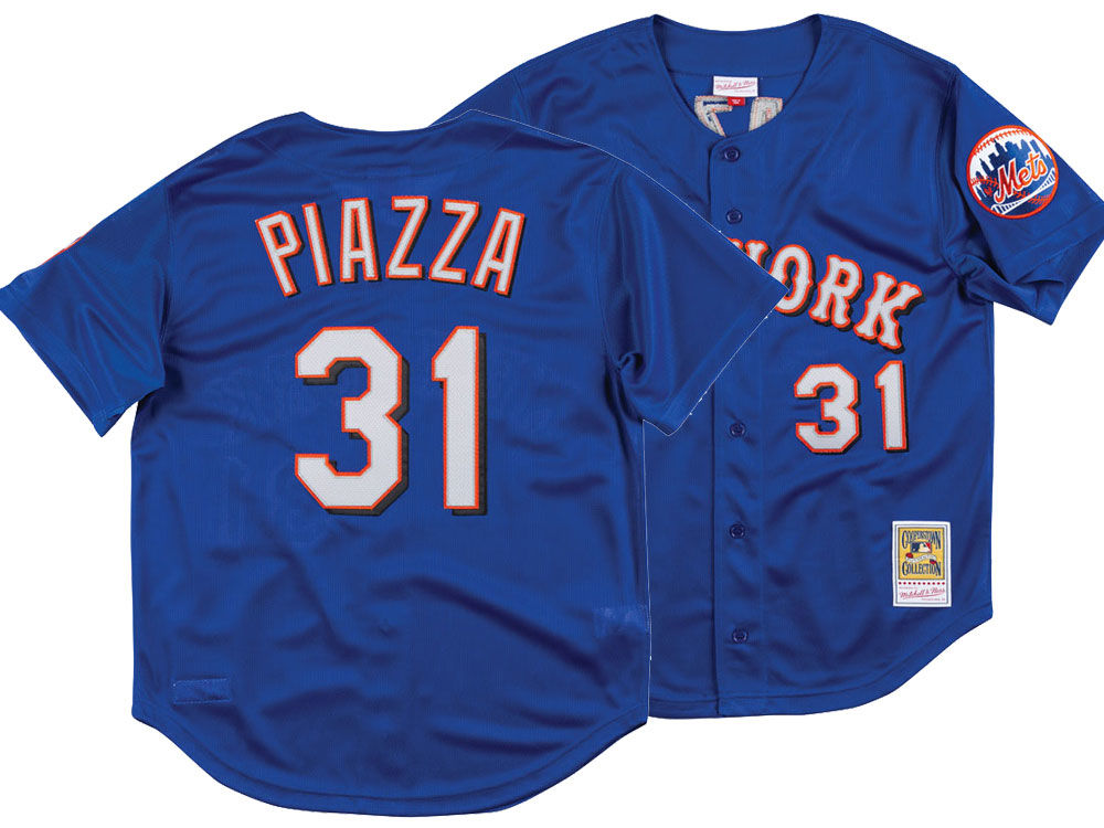 New York Mets Mike Piazza Mitchell   Ness MLB Men s Authentic Mesh Batting  Practice V-Neck Jersey  8a79c63f8