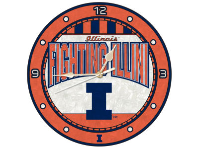 Illinois Fighting Illini Memory Company Art Glass Clock