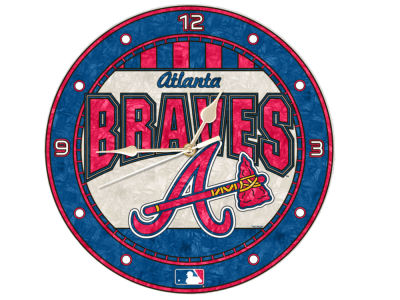 Atlanta Braves Memory Company Art Glass Clock