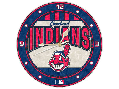 Cleveland Indians Memory Company Art Glass Clock