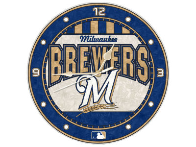 Milwaukee Brewers Memory Company Art Glass Clock