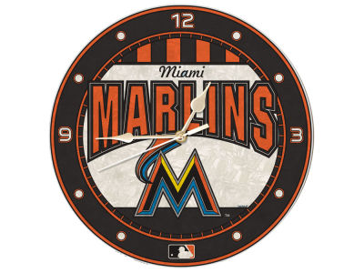 Miami Marlins Memory Company Art Glass Clock