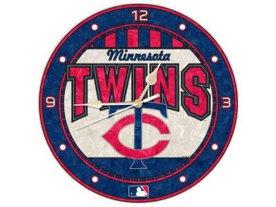 Minnesota Twins Memory Company Art Glass Clock