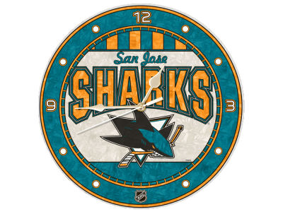 San Jose Sharks Memory Company Art Glass Clock