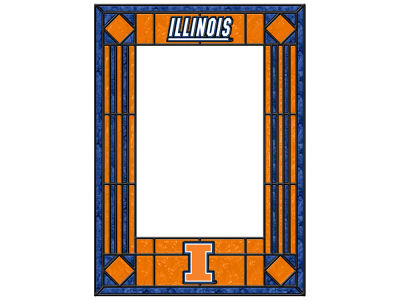 Illinois Fighting Illini Memory Company Art Glass Vertical Frame