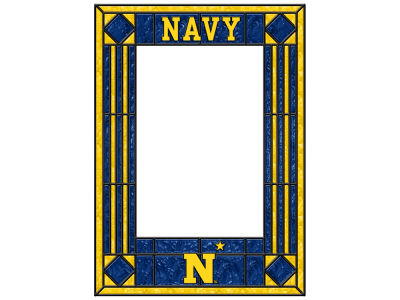 Navy Midshipmen Memory Company Art Glass Vertical Frame