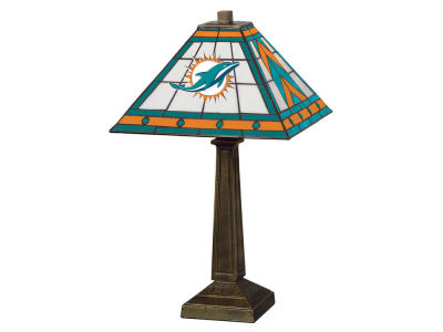 Miami Dolphins Memory Company Stained Glass Mission Lamp