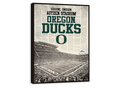 Oregon Ducks ScoreArt NCAA Newspaper Stadium Framed Printed Canvas