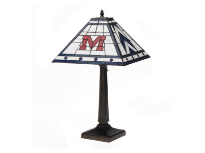 Ole Miss Rebels Memory Company Stained Glass Mission Lamp