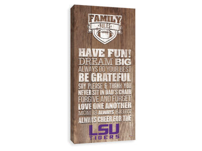 LSU Tigers ScoreArt NCAA Family Rules Icon Wood Printed Canvas