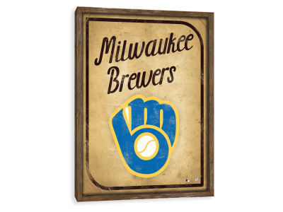 Milwaukee Brewers ScoreArt MLB Vintage Card Recessed Box Wall Decor