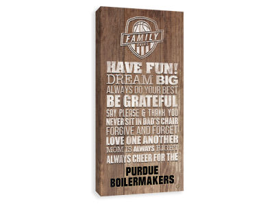 Purdue Boilermakers ScoreArt NCAA Family Rules Icon Wood Printed Canvas