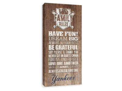 New York Yankees ScoreArt MLB Family Rules Icon Wood Printed Canvas