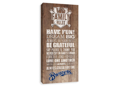 Milwaukee Brewers ScoreArt MLB Family Rules Icon Wood Printed Canvas