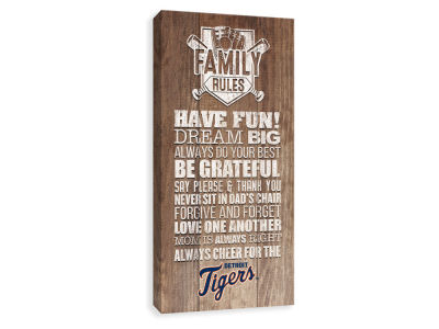 Detroit Tigers ScoreArt MLB Family Rules Icon Wood Printed Canvas