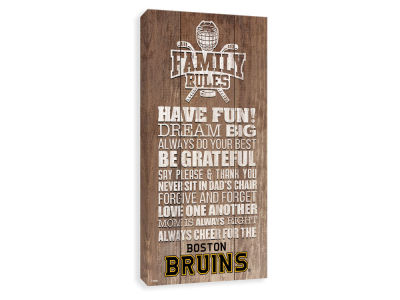 Boston Bruins ScoreArt NHL Family Rules Icon Wood Printed Canvas