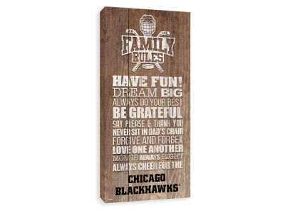 Chicago Blackhawks ScoreArt NHL Family Rules Icon Wood Printed Canvas