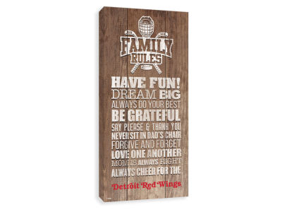 Detroit Red Wings ScoreArt NHL Family Rules Icon Wood Printed Canvas