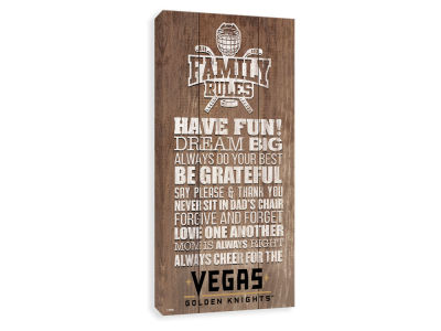 Vegas Golden Knights ScoreArt NHL Family Rules Icon Wood Printed Canvas