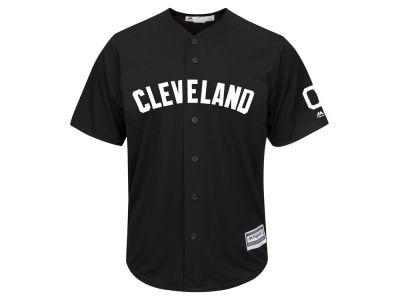 Cleveland Indians Majestic MLB Men s Black Tux Replica Cool Base Jersey a6ce765c1