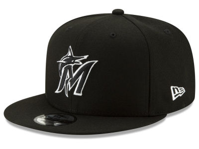 Miami Marlins New Era MLB Black White 9FIFTY Snapback Cap 88b5ba5072d