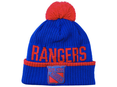 New York Rangers NHL Iconic Stroke Cuffed Pom Knit