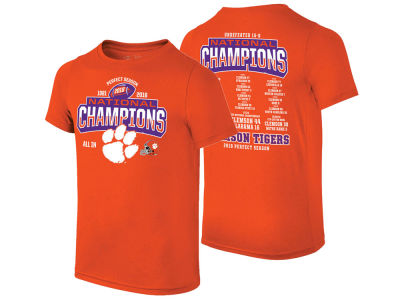 abed9a4ad05 Clemson Tigers The Victory 2019 NCAA Men s National Championship Undefeated  Schedule T-Shirt